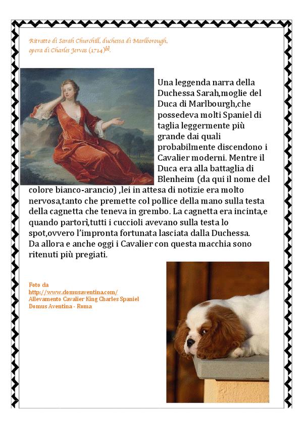 ritratto di Shara Churchill,duchessa di Marlbourg e foto di cavalier king blenheim dell'allevamento Domus Aventina di Roma