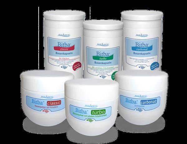Bitba-Basenprodukte erhältlich als Basenpulver oder Basenkapseln in den Produktlinien carbonat, classic und turbo