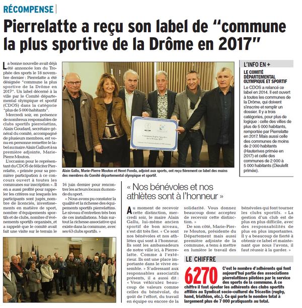 Dauphiné Libéré  du 09-02-2018
