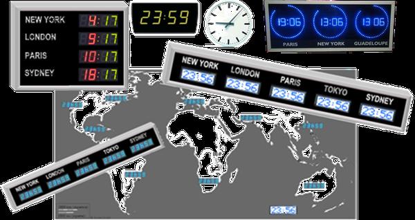 Horloge multi fuseaux horaires
