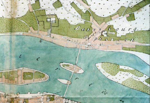 Sur cette partie du plan non daté du XVIIe siècle, on aperçoit le faubourg Saint-Symphorien