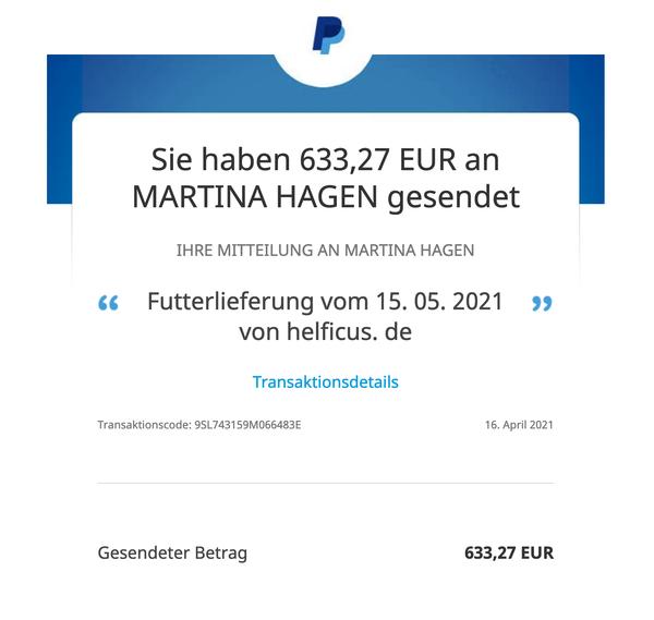 Tippfehler: natürlich ist die Lieferung vom 15.04.2021 - wie auf der Rechnung zu lesen ist