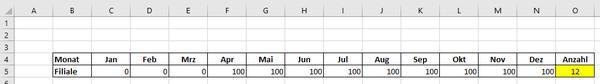 Excel: Anzahl ohne Nullwerte