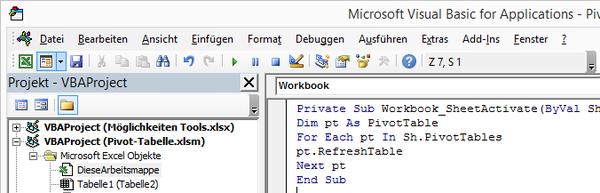 Excel Pivot Tabelle automatisch aktualisieren