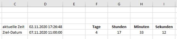 Excel Countdown automatisch aktualisieren