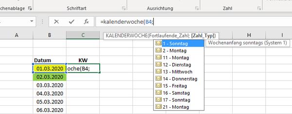 Excel - Kalenderwoche aus Datum auslesen