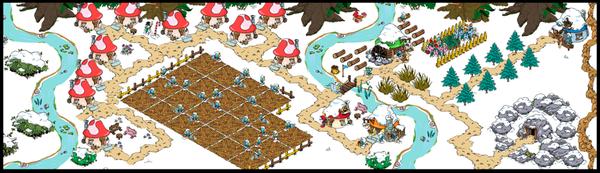ボクの村の様子。 畑を中心に村がある。川の右側は商業地帯。もうすぐ川の左側にも橋が掛けれてそっちはリゾート開発する予定。