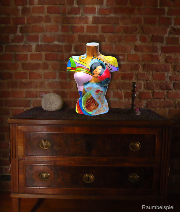 Torso 12 / 4, Collage, Skulptur, bunt, abstrakt, Art, Kunst, Malerei, Original, Unikat, Kunststoff, Acryl, Raumbeispiel