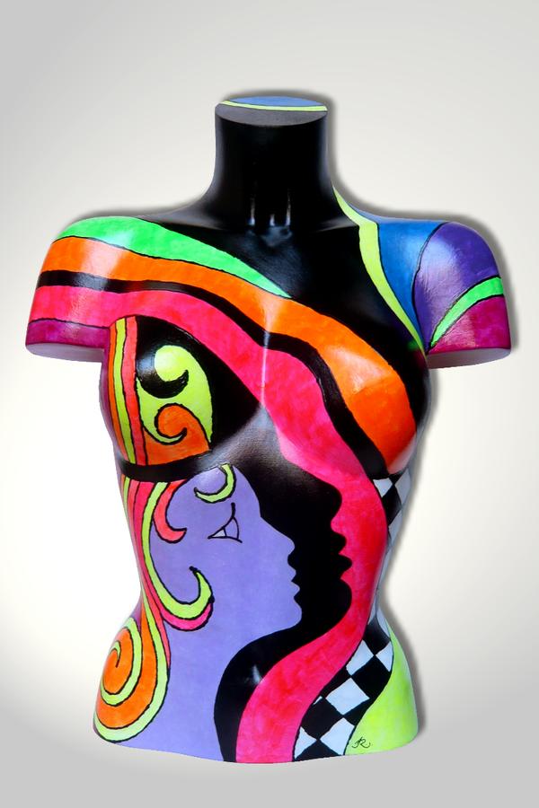 Torso 13 / 43, Skulptur, bunt, abstrakt, Art, Kunst, Malerei, Original, Unikat, Kunststoff, Acryl
