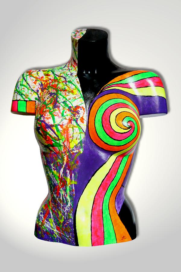 Torso 13 / 46, Skulptur, bunt, abstrakt, Art, Kunst, Malerei, Original, Unikat, Kunststoff, Acryl