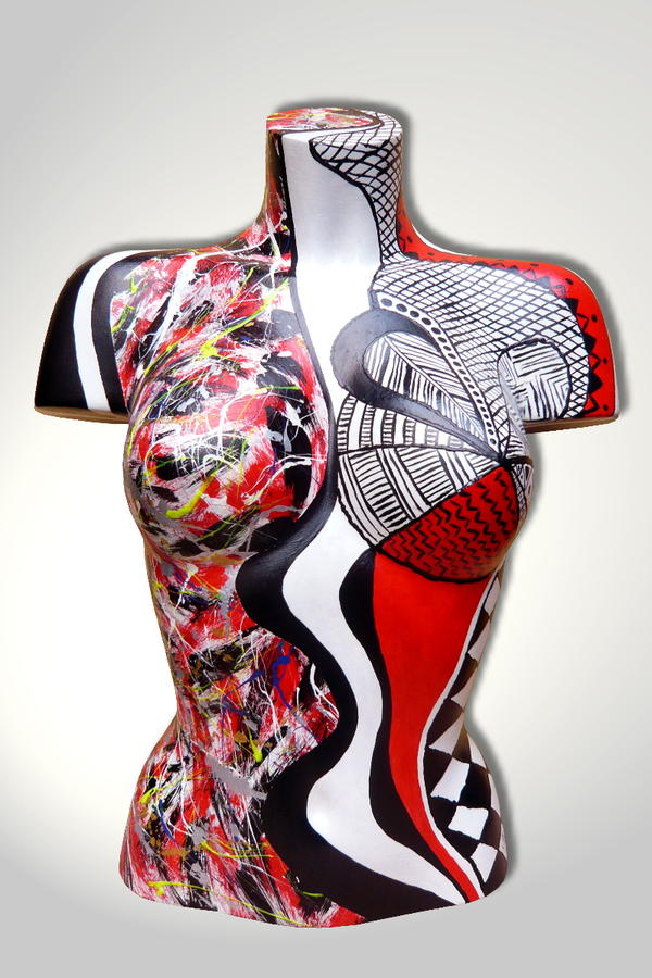 Torso 12 / 12, Skulptur, schwarz, rot, weiss, abstrakt, Art, Kunst, Malerei, Original, Unikat, Kunststoff, Acryl