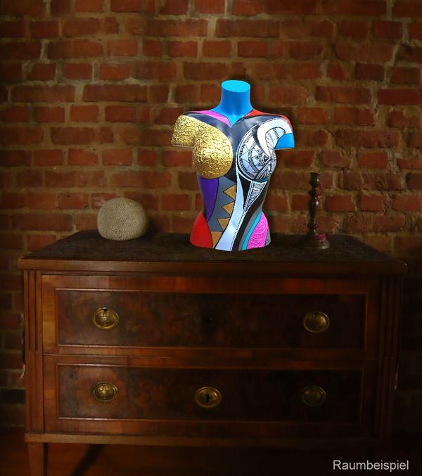 Torso 17 / 130, Skulptur, bunt, abstrakt, Art, Kunst, Malerei, Original, Unikat, Kunststoff, Acryl, Gold, Raumbeispiel