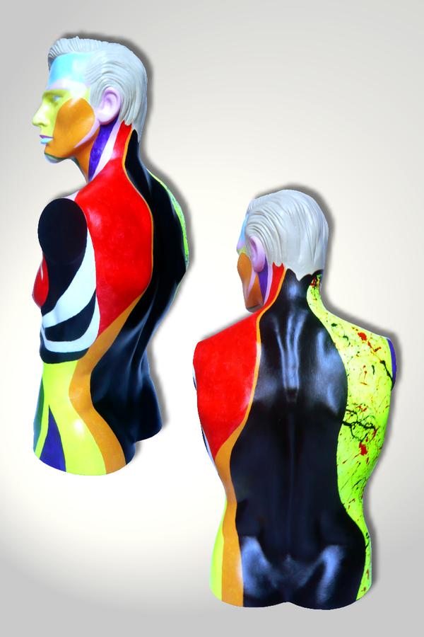 Torso 13 / 53, Skulptur, bunt, abstrakt, Art, Kunst, Malerei, Original, Unikat, Kunststoff, Acryl, Mann, mänlich, Rücken