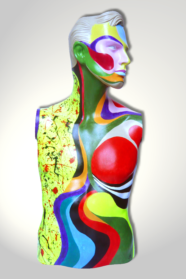 Torso 13 / 53, Skulptur, bunt, abstrakt, Art, Kunst, Malerei, Original, Unikat, Kunststoff, Acryl, Mann, mänlich