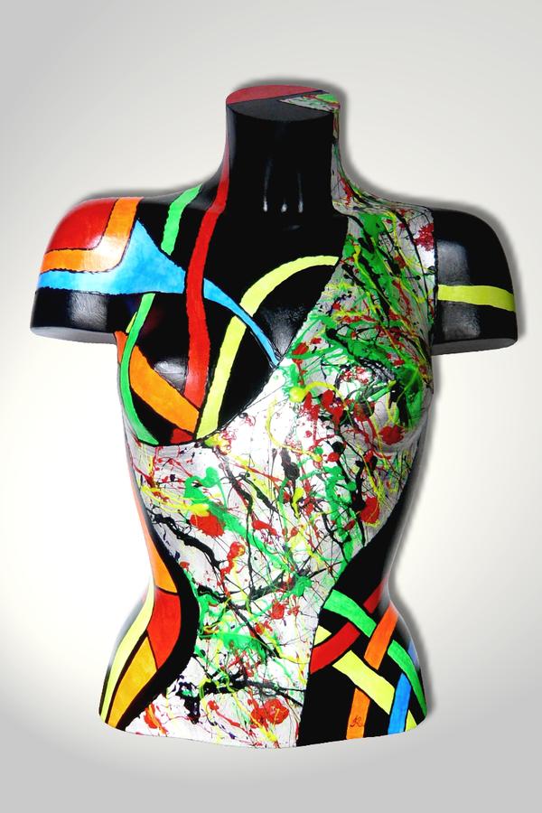 Torso 13 / 37, Skulptur, bunt, abstrakt, Art, Kunst, Malerei, Original, Unikat, Kunststoff, Acryl