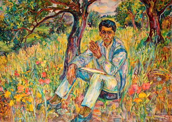 Bettina Heinen-Ayech (1937-2020): Portrait du peintre Hocine Himeur, 1990