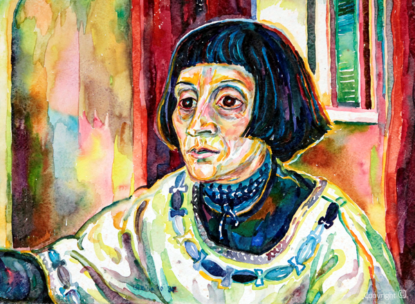 Bettina Heinen-Ayech (1937-2020): Portrait of the painter Venetha Smith, 1987