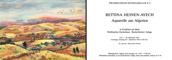 Plakat und  Einladungskarte zur Bettina Heinen-Ayech Ausstellung im Frankfurter Künstlerclub