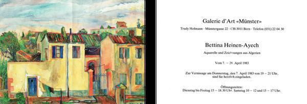 """Einladungskarte der Galerie d´Art """"Münster, Bern"""