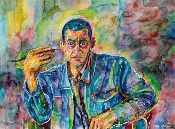 Bettina Heinen-Ayech (1937-2020): Portrait du peintre Hakim Benabda, 2013