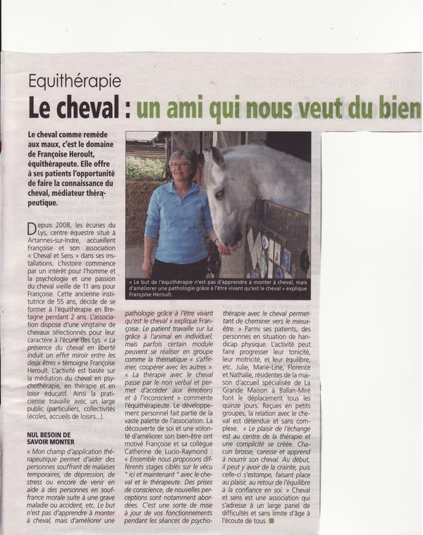 Equithérapie  Le cheval, un ami qui nous veut du bien (Terre de Touraine 2014)