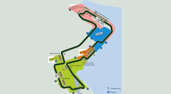 Formel 1 Rennstrecke Singapur