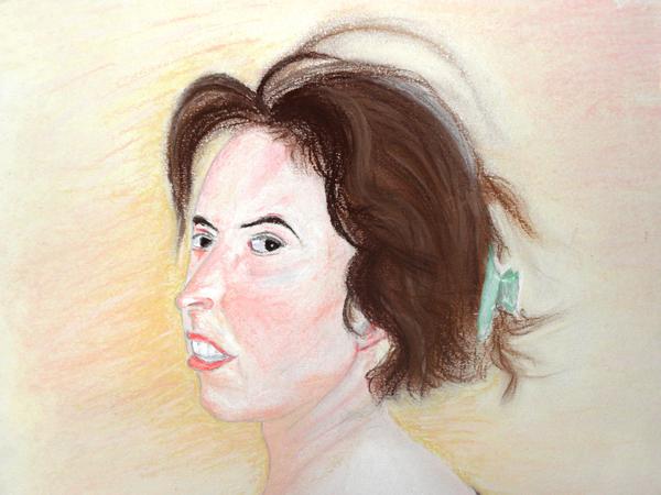 """00/8 - Portrait de pastel (Version 1) - Avant le Projet de """"Balade dans le Cantal"""" - Premiers Dessins - Ph.R - 1998"""