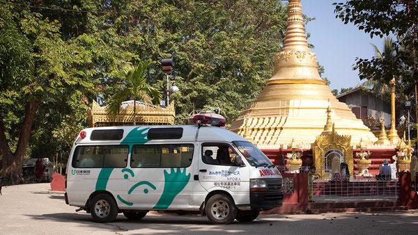 あんきやの車がミャンマーで救急車に変身