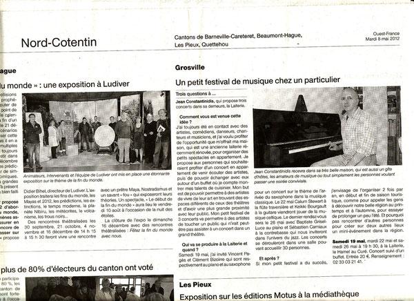Article dans Ouest-France du 8 mai 2012.
