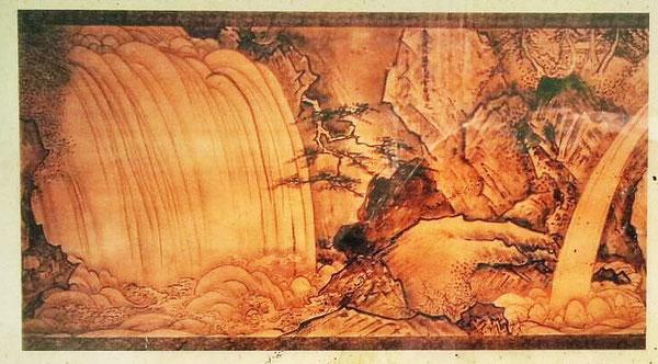 沈堕の滝にあった観光案内板(©豊後大野市)の雪舟作『鎮田瀑図』。原図は、関東大震災の際に焼失しており、この絵も狩野常信の模写(京都国立博物館所蔵)と思われます。大正時代の写真のように雄滝と雌滝のコントラストがいいですね!