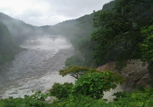 沈堕の滝の男滝(画面左遠景)と、画面右端から流れる激流。中央に発電所跡が見える。※クリックすると拡大します。