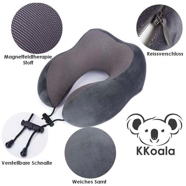 Das KKoala Nackenkissen in Koala Grau. Magnetfeldtherapie Stoff, Reissverschluss, weichem Silberfuchs Samt und einer verstellbaren Schnalle.