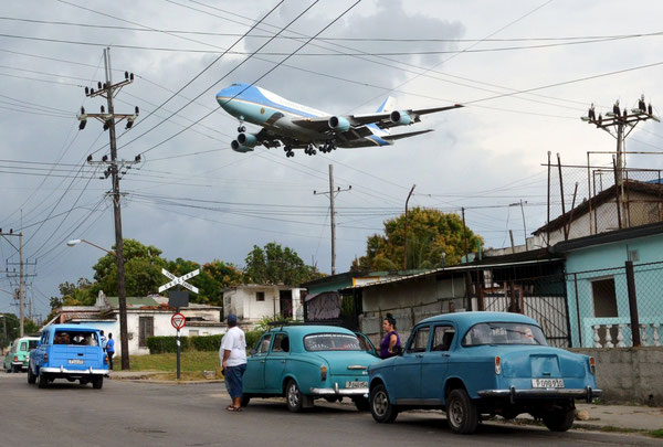 AF-1 with U.S. President Obama on board was the first U.S. aircraft landing on Cuban soil after decades of hostile relations. Many more are expected to follow.