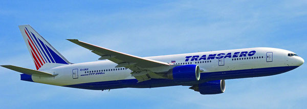 Will soon fly in Aeroflot colors – Boeing 777-200ER of Transaero  /  courtesy Transarero