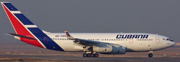 Cubana operates mostly Russian passenger aircraft, pictured here: IL-96