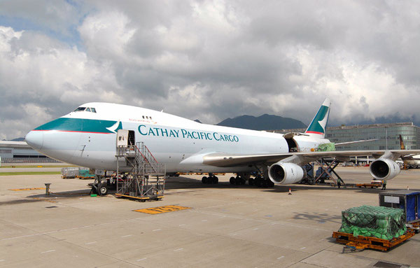 Cathay Pacific Cargo is scaling down its freighter fleet. Pictured here is one of their six Boeing 747-400Fs  - courtesy CX