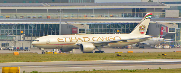 Etihad freighter at Parma Guiseppe Verdi Airport  -  company courtesy