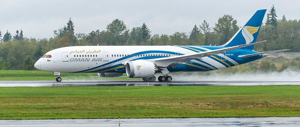 Oman Air operated Boeing 787  -  company courtesy
