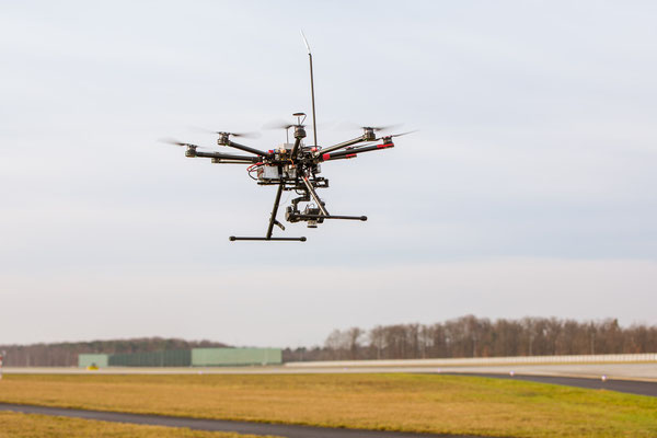 Drone inspecting runway system at Rhine-Main airport  -  courtesy LH