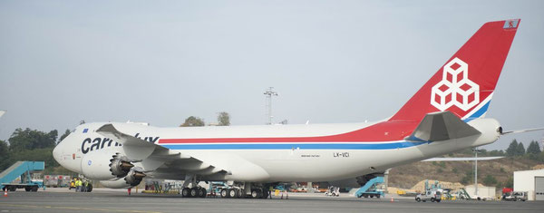 Three more are to come – one of Cargolux's meanwhile eleven Boeing 747-8F at Findel Airport  /  source: CV