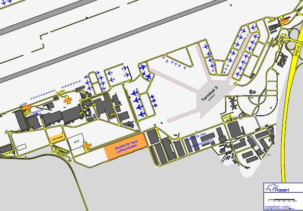 Expansion area in Fraport's Cargo City South, here marked orange  /  source: Fraport