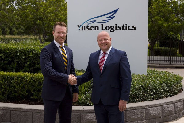 Yusen Logistics Australia MD, Ian Pemberton (right) with Hitech CEO Tom Devjak.