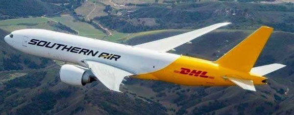 Southern Air's main client is DHL Express, as seen on the hull of this Boeing 777F