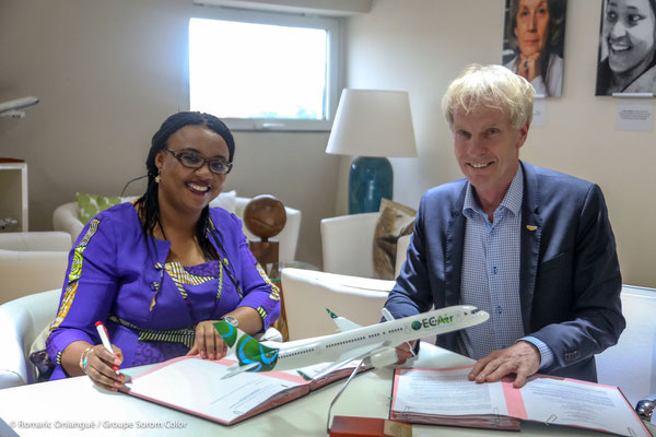Have become partners: ECAir CEO Fatima Beyina-Moussa and Kales helmsman Peter Kales  /  source: ECAir