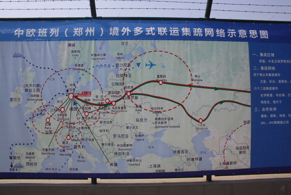 Route map  displayed at Zhengzhou's block train loading station  -  pictures: hs