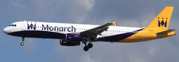 Monarch operates flights from five major airports across the UK to over 30 destinations. Pictured is one of their A321s  -  company courtesy