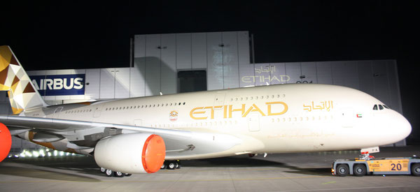 Etihad's new livery was unveiled at the roll-out ceremony of their first A380 at Hamburg's Airbus Facility  /  source pictures: hs