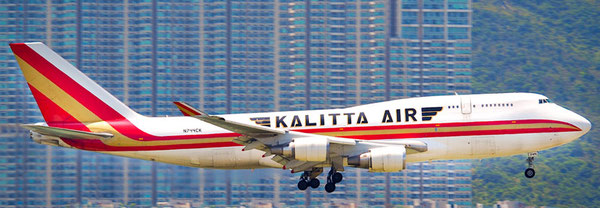 One of Kalitta's ten Boeing 747-400F  -  company courtesy