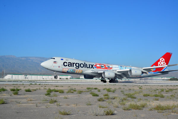 First landing of CV operated Boeing 747-8F at Ashgabat  -  courtesy Cargolux