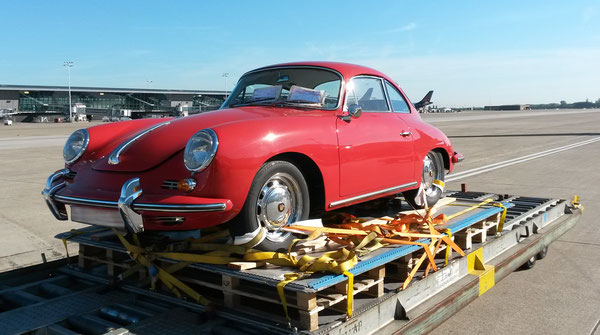 Iconic 1965 Porsche 356C prior to being loaded on board an Air Canada aircraft at BRU  -  source: a. hartrodt